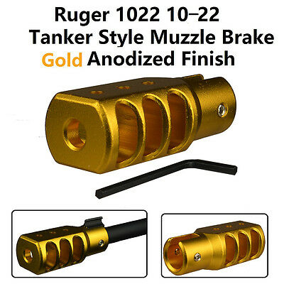 Slip On Set Screw Tightened Ruger 10 22 1022 Muzzle Brake Tanker Style Al Gold