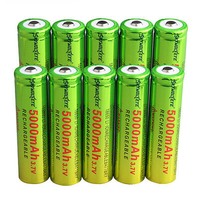 New 10PCS Green 18650 Rechargeable Li-ion Battery  5000mAh BRC 3.7V for USA