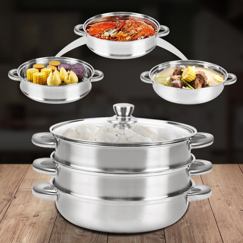 3 Tier Meat Vegetable Cooker Stainless Steel Pot Tool