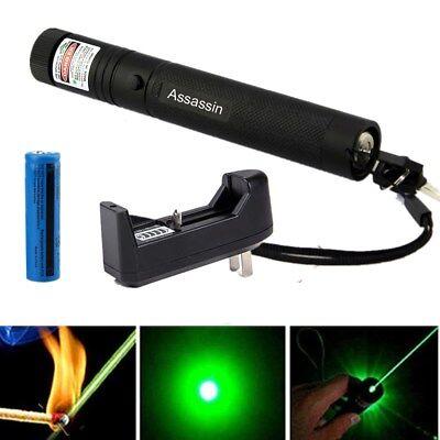 50Miles 532nm ASS Green Laser Pointer Lazer Pen Visible Beam Light+18650+Charger