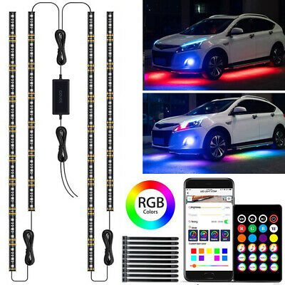 RGB LED Strip Under Car Tube Underglow Lights Kit + APP Bluetooth Remote Control