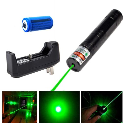 4mW Portable Green Laser Pointer Pen 532nm Bright Light Handheld+Battery+Charger