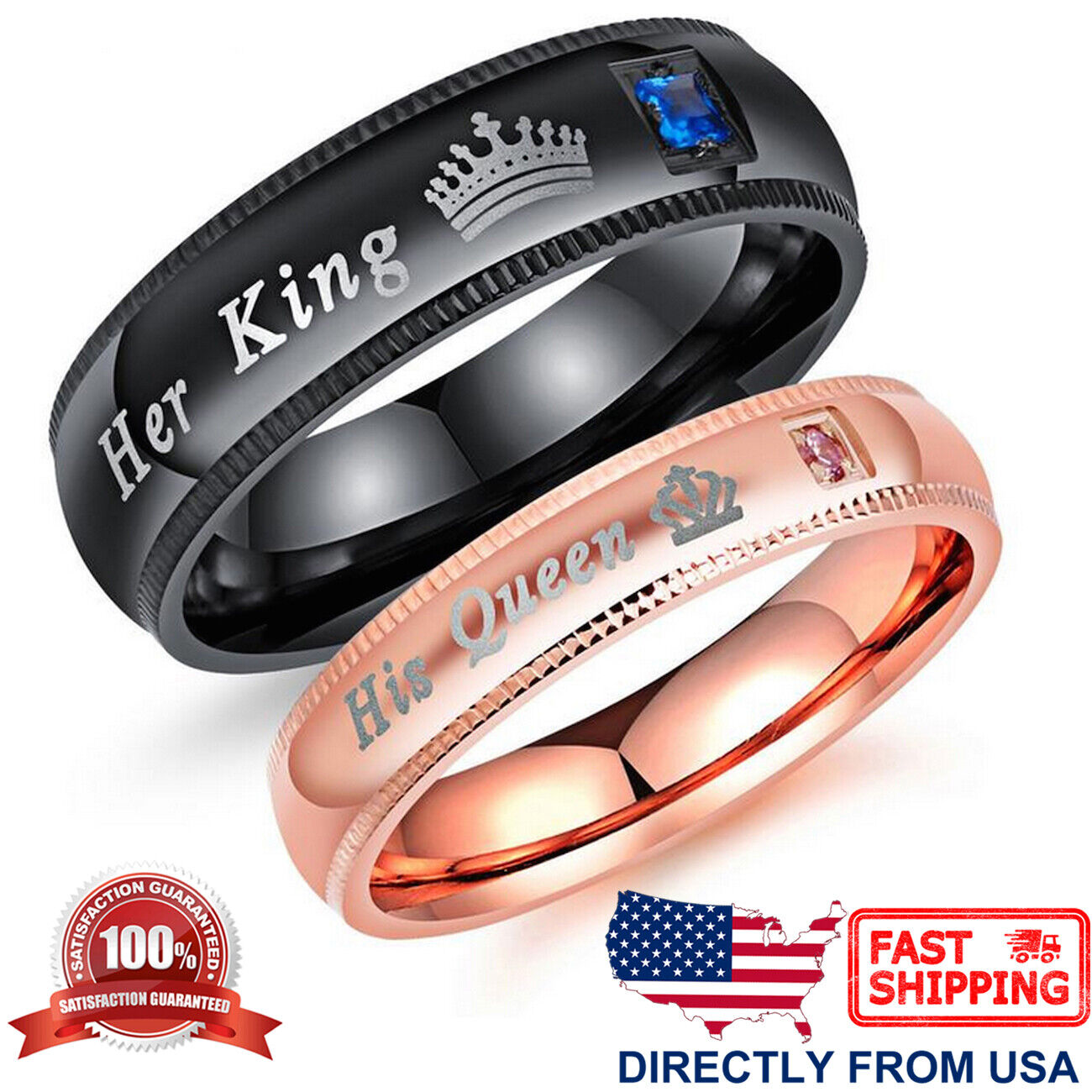 Couple's Matching Ring, His Queen or Her King Wedding Band C