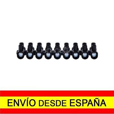 Regleta de 12 Secciones Conexiones Eléctricas 6mm 6 Amperios Negra a1821