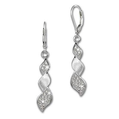 SilberDream Ohrringe Damen 925 Silber Ohrhänger Zopf Zirkonia weiß SDO4286W