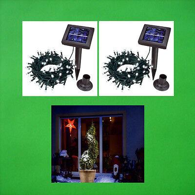 2x 100 LED Catena Luci solari Bianco Freddo DI lampade da giardino