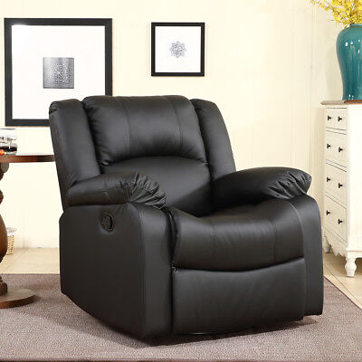 Black Leather Swivel Chair - Recliner and Rocking Swivel Black Plush Over Stuffed Faux Leather Comfy Chair