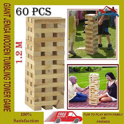 GIANT JENGA WOODEN TUMBLING TOWER GAME INDOOR OUTDOOR GARDEN FAMILY GAMES NEW