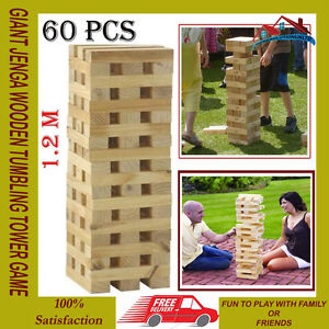 GIANT JENGA WOODEN TUMBLING TOWER GAME INDOOR OUTDOOR GARDEN FAMILY GAMES NEW