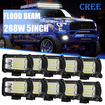 """10x 5'' 288W LED Work Light Bar Flood Driving Lamp Jeep Truck Boat Offroad 4"""" 6"""""""
