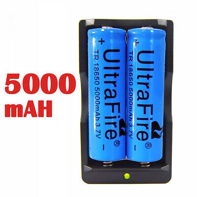 2PCS UltraFire BRC 3.7v 5000mAH Rechargeable 18650 Li-ion Battery+Smart Charger on Rummage