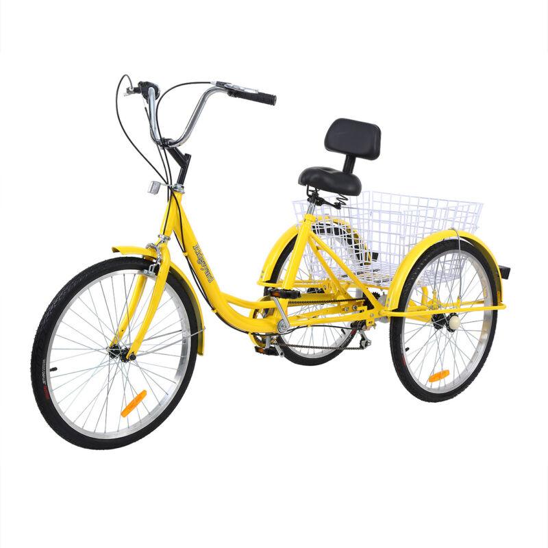 "99%New 24"" Adult Tricycle 3-Wheel 7 Speed Bicycle Trike Crui"