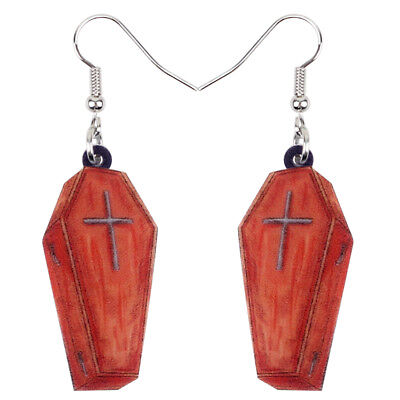 Acrylic Halloween Coffin Casket Earrings Drop Dangle Jewelry For Women Girl Gift