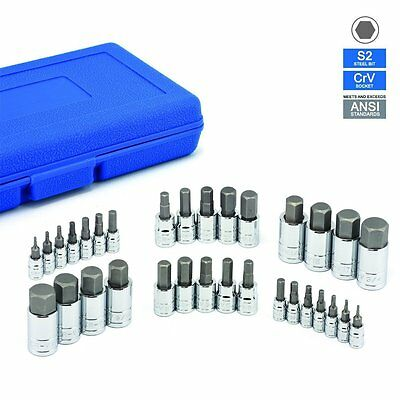 32 PC MASTER ALLEN WRENCH BIT KIT HEX KEY FOR RATCHET SOCKET TOOL SAE METRIC SET