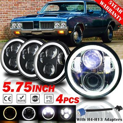 "4Pcs 5.75"" LED Headlight Halo DRL Angel Eyes DOT Lamp for Oldsmobile Vintage Car for sale  Shipping to South Africa"