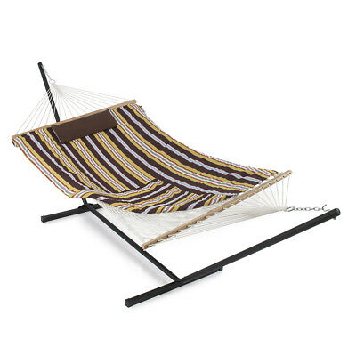 NEW 12 ft Hammock with Stand Pad and Pillow, Tablet/Cup Holder (Desert Stripe)