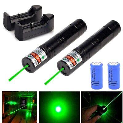2pcs 900 Miles Green Beam Laser Pointer Pen 1 Mw Portable Lazerchargerbattery