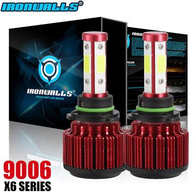 IRONWALLS 1500W 9006 4-Side LED Headlight Bulbs Kit High Low Beam 6000K Fog HB4