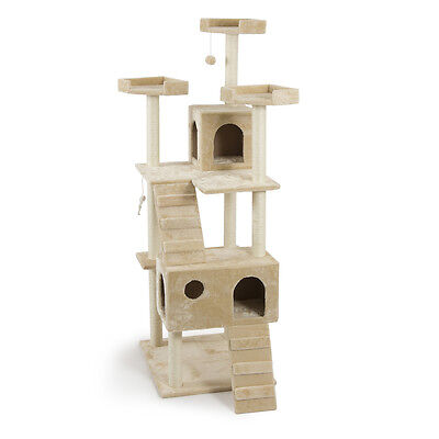 "NEW 72"" Almond Cat Tree Play House Condo Scratcher Post Furniture Perche Kitten"
