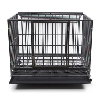 """NEW 49"""" Dog Crate Kennel - Heavy Duty Silver Pet Cage Playpen Tray Pan + Wheel"""