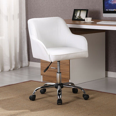 Mid Back Desk Task Office Chair Padded Seat Lumbar Support Velvet Fabric White