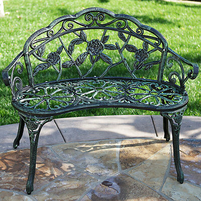 Patio Garden Bench Chair Style Porch Cast Aluminum Outdoor Rose Antique Green