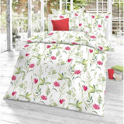 Schlafgut Bettwäsche Bettgarnitur Mako Satin Baumwolle 135x200 cm Blumen