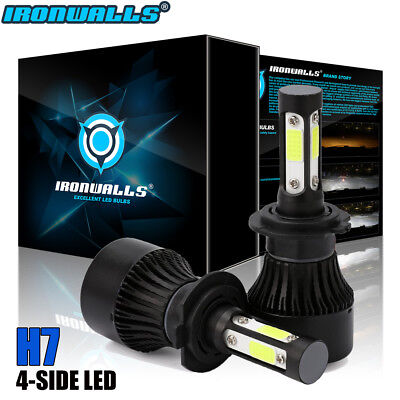 4-Side H7 2400W 360000LM CREE LED Headlight Kits Hi/Lo Beam Bulbs 6000K HID Fog