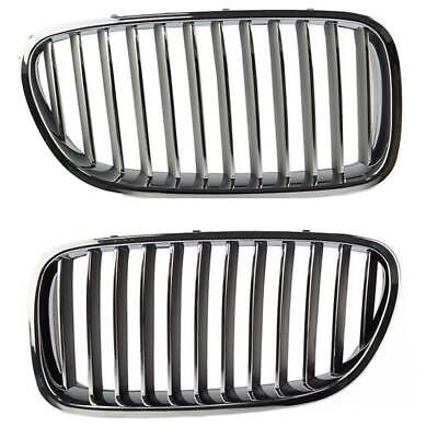2PCS FOR BMW 5 Series F10 Front Left & Right Black Hood Kidney Grille