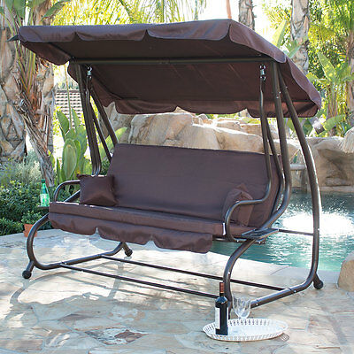 Porch Swing Outdoor Bed Patio Deck Seat Furniture Chair + Cup Holder Bench Brown