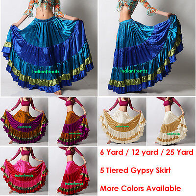 Mix Color Satin 6/12/25 Yard Tiered Gypsy Skirt Belly Dance Ruffle Flamenco AUS Belly Dance Satin