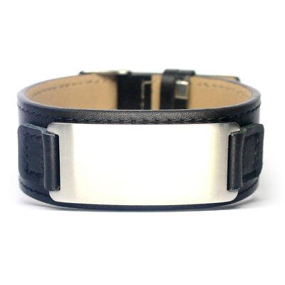 Armband mit Gravur Herrenarmband Damenarmband Edelstahl Platte NEU Leder LA-B2