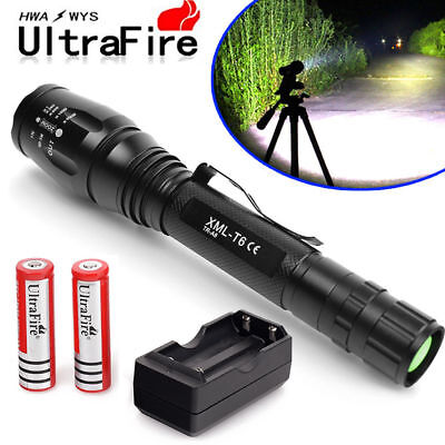 15000Lumens 5 Modes XM-L T6 Zoomable LED Flashlight Torch 18650&Charger USA