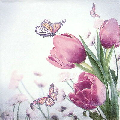 4x Paper Napkins -Butterfly & Tulips- for Party, Decoupage ()