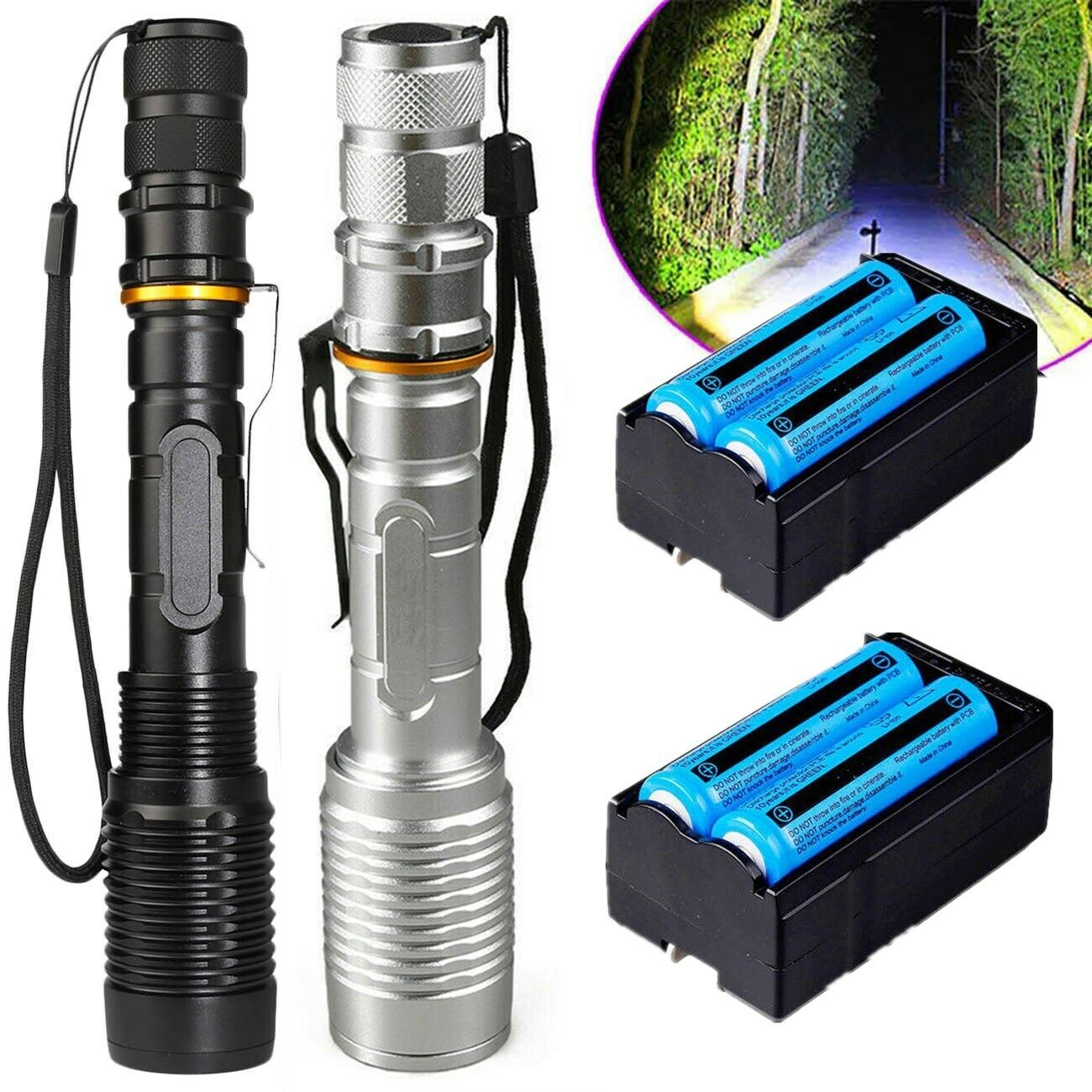 2Set Ultra Bright 990000LM Flashlight LED Light Tactical Rechargeable Torch Lamp