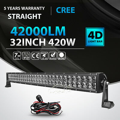 4D 32INCH 420W Straight LED LIGHT BAR SPOT FLOOD OFFROAD DRIVING 4WD TRUCK 36