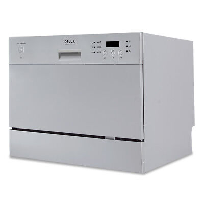 6 Lay Settings Countertop Small Kitchen Dishwasher Stainless Steel, Silver