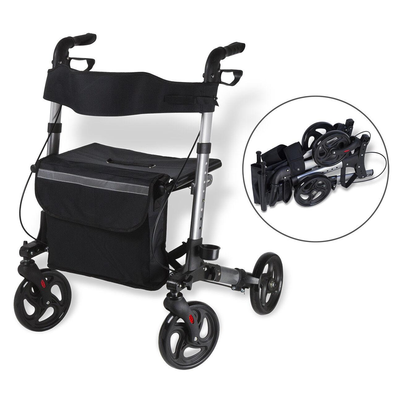 Alu Rollator faltbar leicht Laufhilfe Gehhilfe Gehwagen klappbar Sitz Reflektor