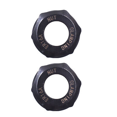 2pcs Er16 A Type Collet Clamping Nut For Cnc Milling Chuck Holder Black