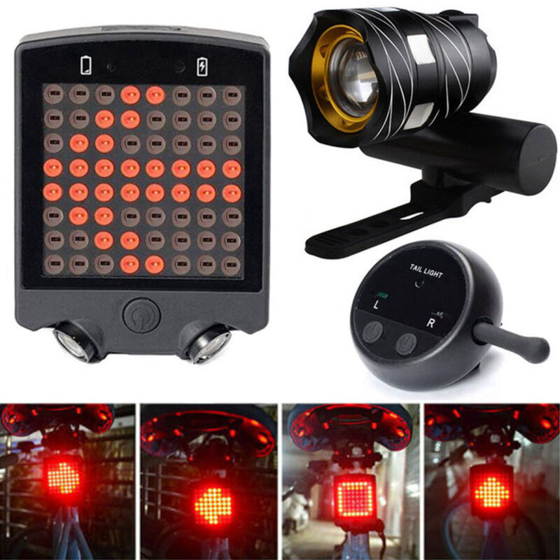Bike Bicycle LED Light Set Front Headlight Turn Signal Tail Light Rechargeable