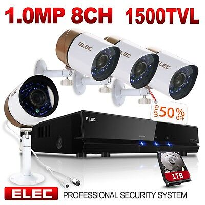 ELEC 8CH 960H HDMI DVR 1500TVL Video CCTV Home Security Camera System 1TB HDD