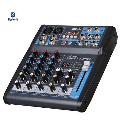 - Audio 2000s AMX7321UBT 4 Ch. Audio Mixer Sound Board w/ USB, Bluetooth, Effects