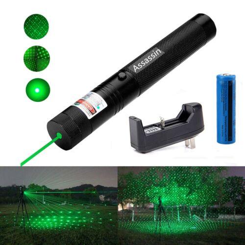 Assassin 20Miles Green Laser Pointer Star Pattern 532nm 2In1 Pen+18650Batt&Char