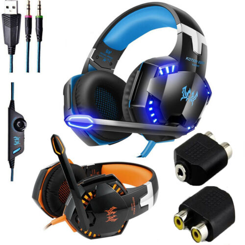 LED Gaming Headset Stereo Surround Headphone 3.5mm Wired With Mic For PC//PS4