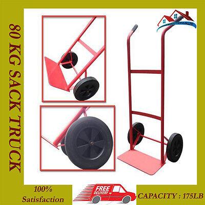 80KG HEAVY DUTY SACK TRUCK INDUSTRIAL HAND TROLLEY CART WHEEL BARROW 175LB NEW (Heavy Industrial Duty Trolley)