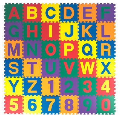"12""x12"" 36pc Soft EVA Foam Baby Kids Play Mat Alphabet Number Puzzle 1/2"" Thick"