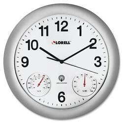 Lorell Analog Temperature/Humidity Wall Clock 12 Silver 61000