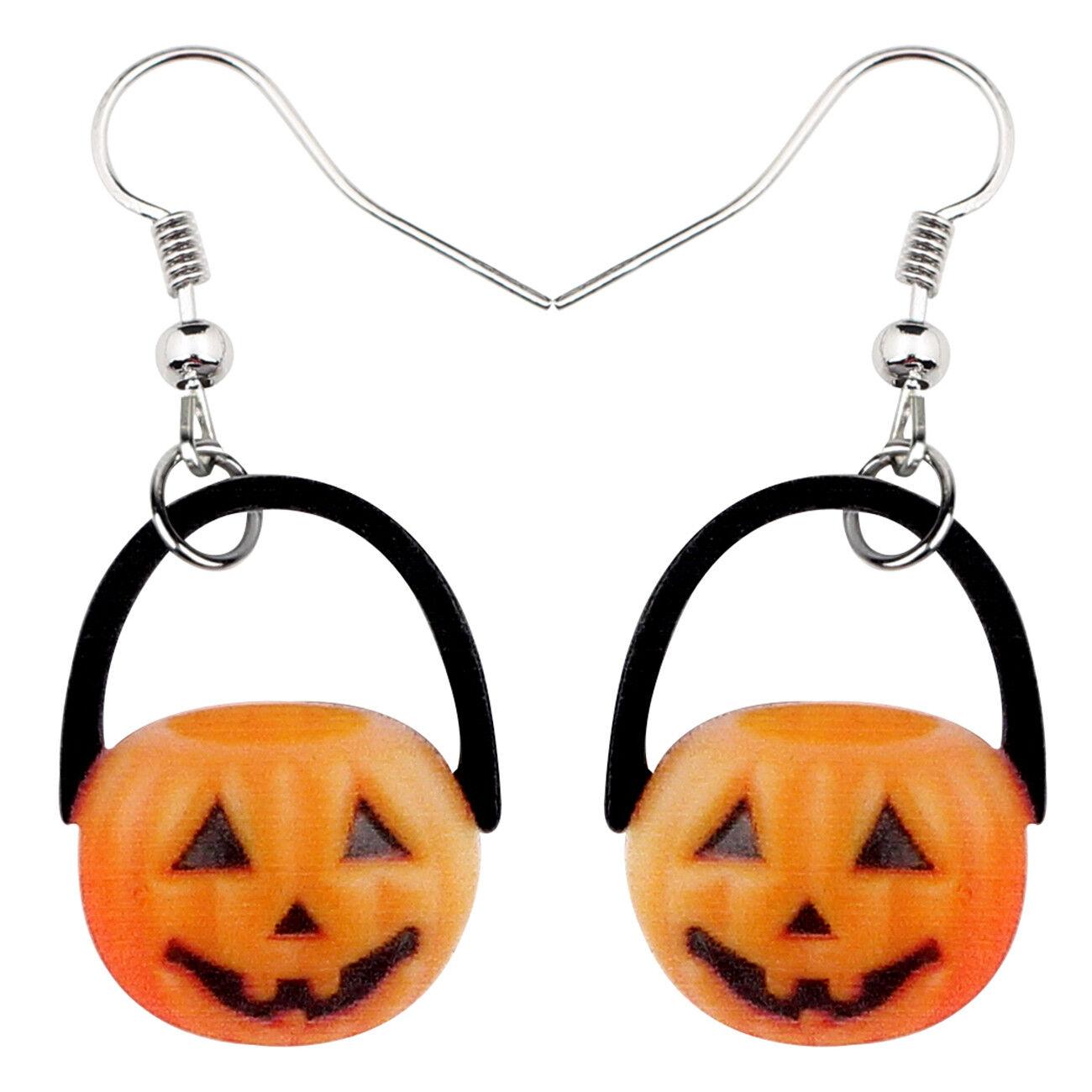 Acrylic Halloween Happy Pumpkin Earrings Dangle Punk Jewelry