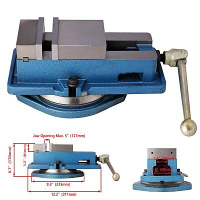 4 Milling Machine Lockdown Vise -swiveling Base High Clamping Power Metal Jaws