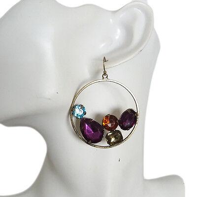 Multi Stone Dangle - Womens Antique Bohemian Multi Color Beads Stones Hookie Dangle Hook 5CM Earrings